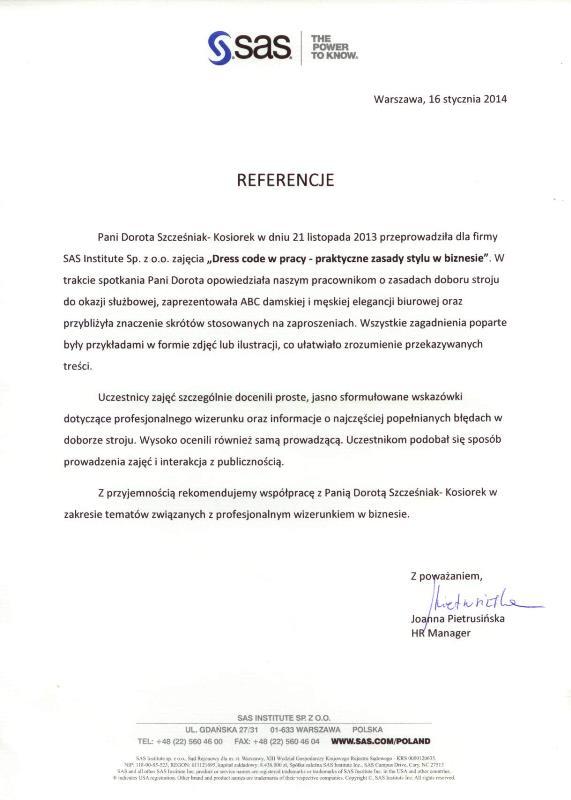 Referencje SASInstitute Dress code w pracy dskexperts.pl