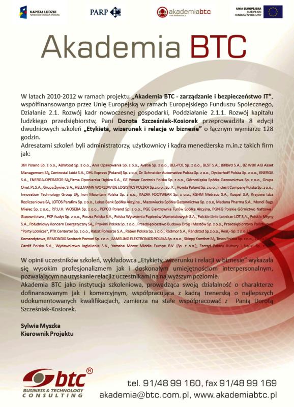 Referencje dla DSK Consulting Akademia BTC