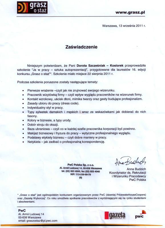 Referencje dla DSK Consulting Grasz o Staż