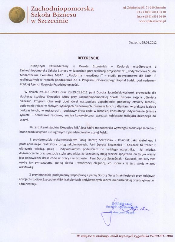 Referencje dla DSK Consulting - biznes lunch i profesjonalny wizerunek